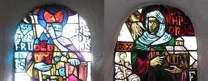 Ansfried en Hilsondis op ramen van de abdijkerk van Thorn